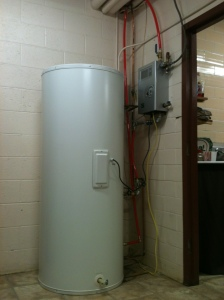 Final inside placement of solar hot water heater and controller