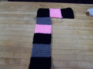 """Lay your short strip at the top of your long strip and stitch together.  Yep, you have made a giant """"L"""", flashback of Seasame Street."""