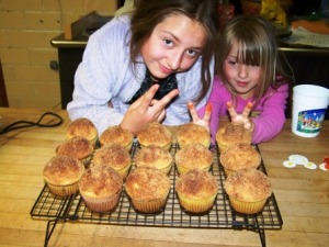 Happy kids ready to eat.